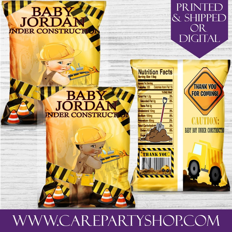 Construction Party Favor Bags-Custom Chip Bags-Construction Party Birthday-Digital-Printable-Baby Shower-Printed-Party Bags-Printable Favors