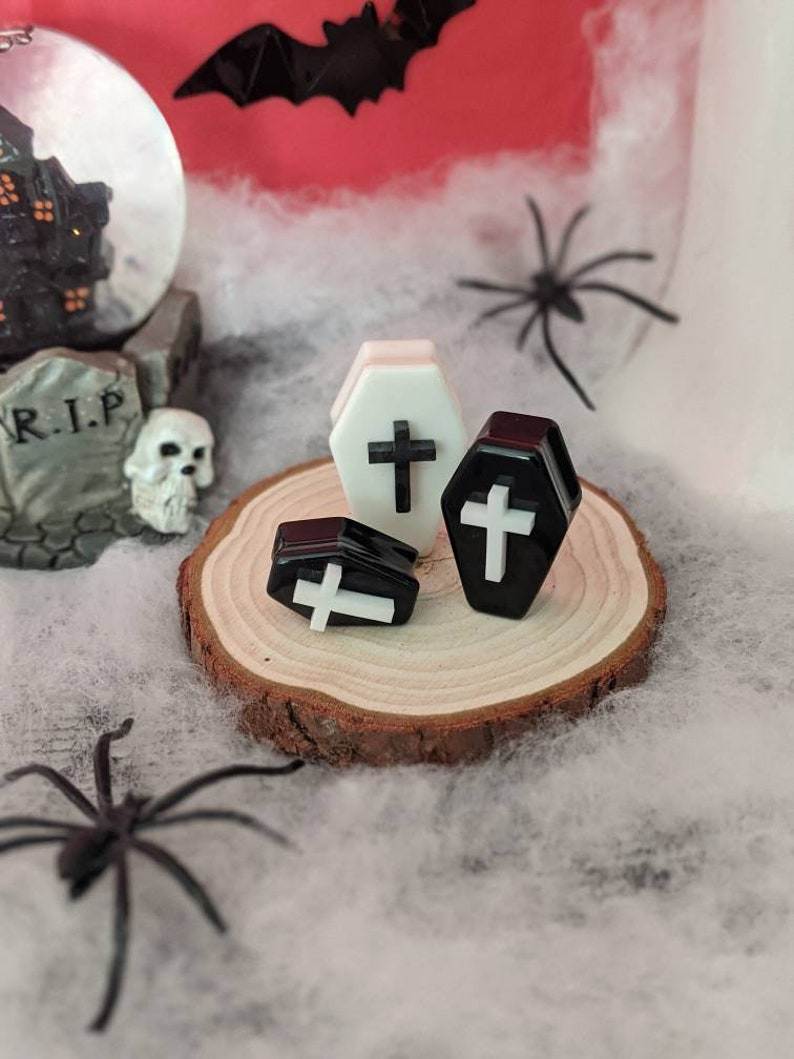 Gothic WHITE COFFIN PLUG Cross 12mm Black Or White Handmade Resin Ear Guage Alternative For Stretched Lobes Body Jewellery 30mm