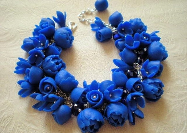 jewelry Earrings with blue flowers and lovely bracelet,Gift for her,Dangle Statement Earrings,polymer clay flower bracelets,Decoration
