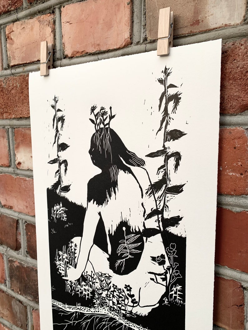 black Girl of Growth original linocut