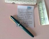 PARKER Duofold Green Fountain Pen 1960s 14k Gold Nib