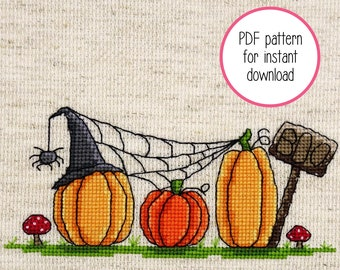 Halloween pumpkin row with witches hat and spider web cross stitch pattern (instant PDF download)