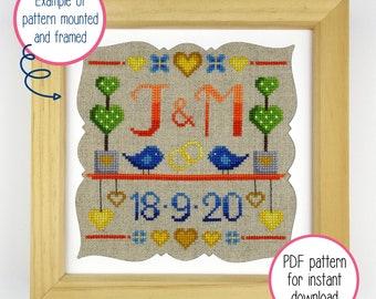 Modern Wedding Sampler Cross Stitch Pattern   Simple Cross Stitch PDF Pattern for Digital Download (includes upper case alphabet + numbers)