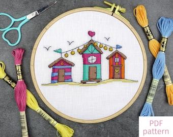 Trio of Beach Huts Cross Stitch Pattern   Colourful Seaside Cross Stitch PDF Pattern for Digital Download