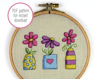 Trio of Flower Vases Cross Stitch Pattern   Floral Modern Cross Stitch PDF Pattern for Digital Download