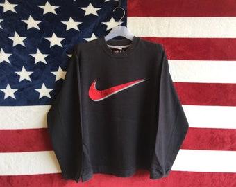 e5c08090cce3 Vintage 90s Nike Sweatshirt Black Color Nike Swoosh Logo Crewneck  Embroidered Logo Nike Shirt Medium Size Nike Sweater Streetwear Nike