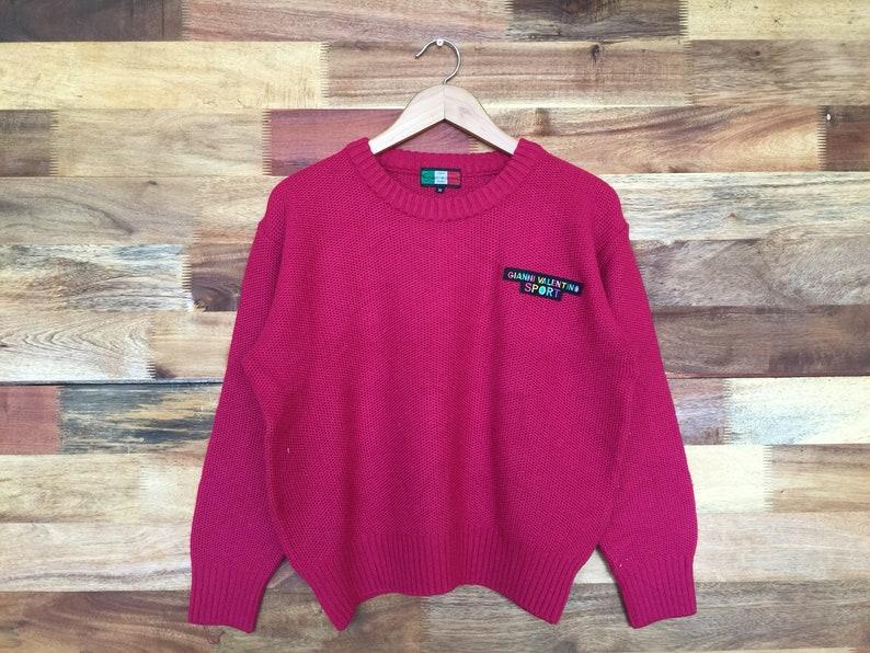 Vintage 90s Gianni Valentino Sport Knitwear Pink Color Gianni Valentino Jumper Pullover Small Logo Gianni Valentino Ladies Shirt Medium Size