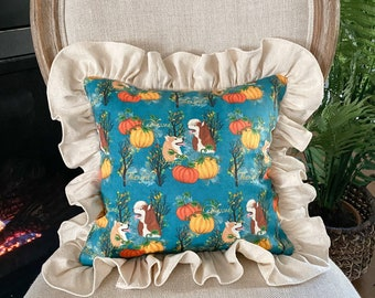 """Ruffled pillow, 12"""" square, Thankful gift pillow, Ready to ship, Handmade in USA, Blessed husky mom gift"""