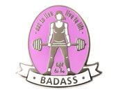Female Weightlifter Enamel Pin by Qontevo