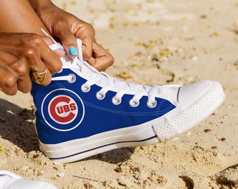 6a65665a905 Chicago Cubs Shoes, Chicago Baseball Custom High Top, Custom Shoes, Gift  Shoes