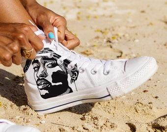 info for 64490 d805a Tupac Shoes, Tupac High Top, Atupac Shakur High Top, Rapper Shoes, Custom High  Top