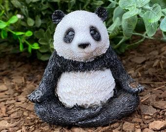 Meditating Panda, Yoga Panda in Lotus Position, Mini Zen Garden, Black and White Panda, Japanese Meditation