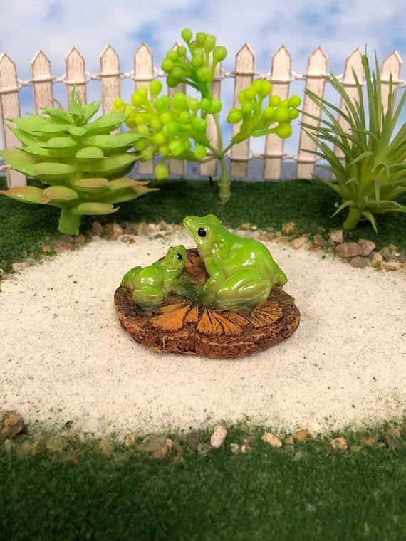 Miniature Dollhouse FAIRY GARDEN ~ Mini Frog Meditating on Sunflower