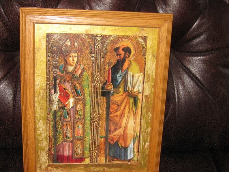 SAINT EMYGDIUS SAINT Emidius Patron Of Earthquakes Print Natural Finish Oak Frame Ridged Sides 10 x 12 12 Gold Mat Religious Wall Art