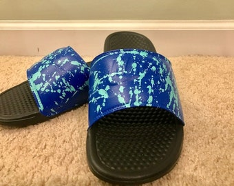 38341701a352 Custom Nike Benassi Men s Slides Island Fushion color. Blue and Tiffany  Blue with Blue Nike Logo SIZE 9