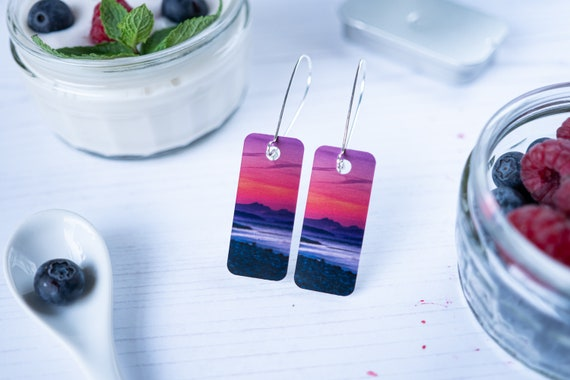 Sunset landscape nature drop earrings. Nature inspired jewellery.