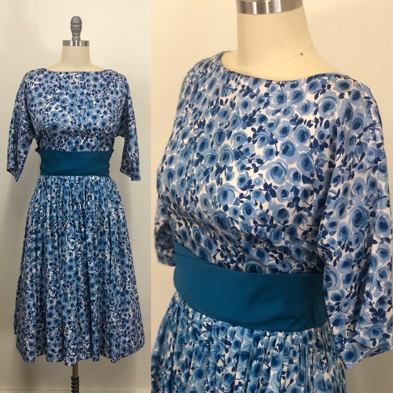 1950s Rayon Blue watercolor floral party dress RAR