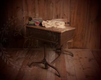 Rustic Vintage School Desk Newborn Digital Background
