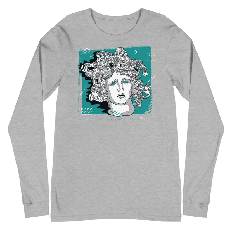 Medusa 90/'s Grunge Pop Art Graphic Long Sleeve Tee Maroon Unisex Deep Heather Grey Black