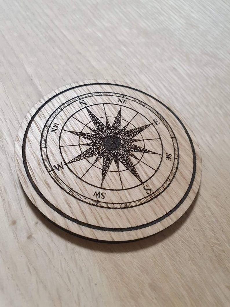 Laser cut wooden coaster Compass Unique Gift lasercut