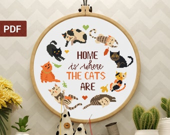 Cat cross stitch pattern, Home is where the cats are, Quote and cute kittens, Easy modern cross stitch pattern (PDF)