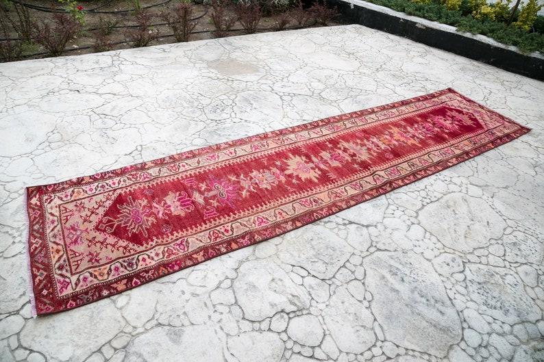 Anatolian  Oushak Wool Rug 112x37,285x95cm Vintage Handmade Distressed Hallway Turkish Runner Rug Turkish Patchwork Runner Rug