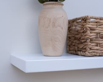 Solid White Floating Shelf - Custom Sizes For Your Needs - Includes Sheppard Bracket & Hardware - Free Shipping