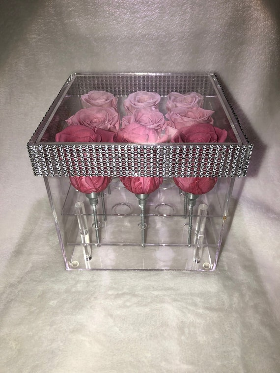 Pink preserved rose in Embellished acrylic gift box