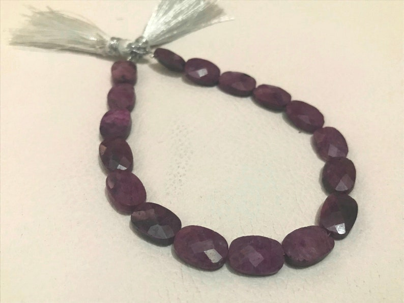 Ruby Natural Gemstone Size 7X11 mm Faceted Cut Oval Shape in 8 inc length