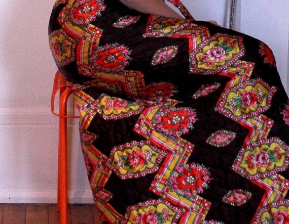 1970s Vintage Quilted Floral Skirt