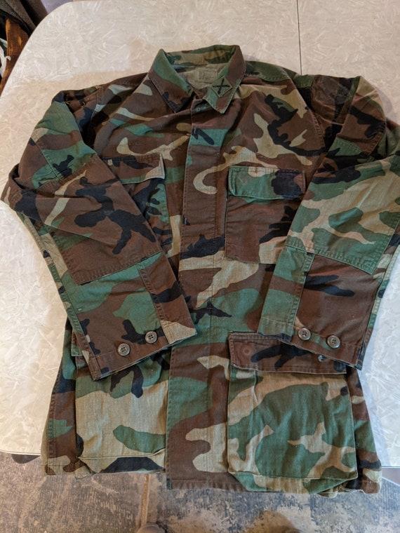 Woodland camo BDU jacket, vintage woodland camo, s