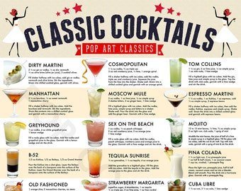 Classic Cocktails Drink Recipe Poster, Wall Art, Home Decor