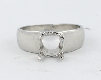 12010 Solitaire Ring Engagement Setting 6mm 5.5mm Round Cut 14k White Gold Semi Mount Classic Sleek Simple