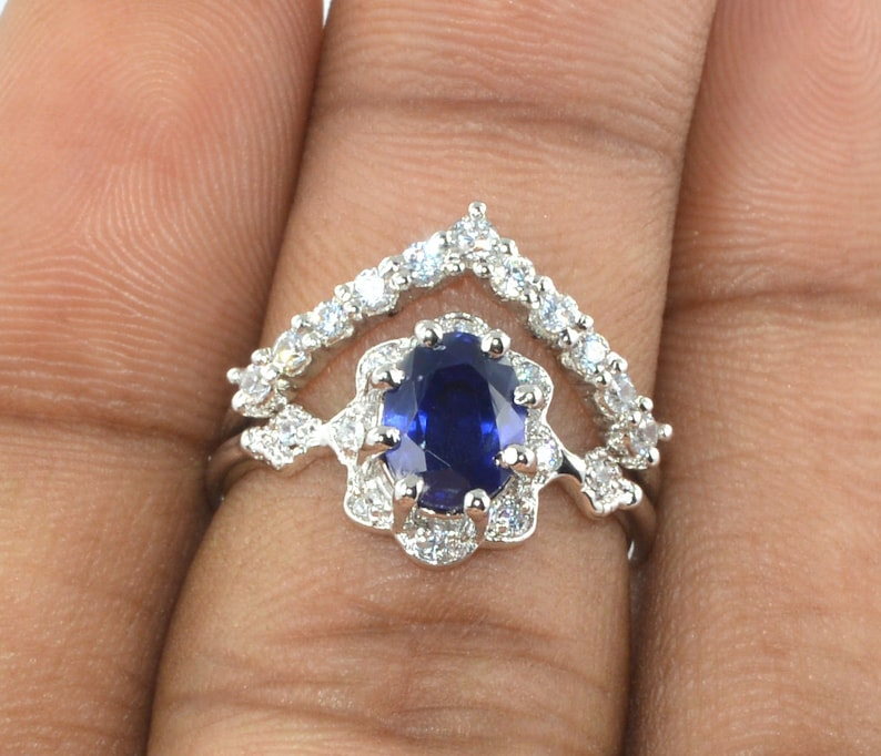 Blue Sapphire Engagement Ring 925 Sterling Silver 2.00 Carat Oval Cut Natural Blue Sapphire Certified Ring
