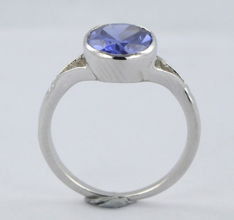 101418k Gold Ring Sterling Sliver Ring Certified 4.00 Oval Cut Tanzanite 14k Genuine0 White Gold  Ring