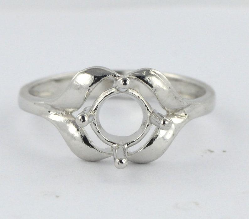 Round Cut 7.00 mm 14k Genuine White Gold Semi Mount  Ring 1418k Gold Ring Sterling Sliver Ring