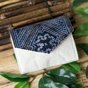 Compact Purse Short Wallet Indigo Batik Handmade Short Purse Tribal Purse Hmong Creations