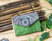 Green Hemp wallet, Unique Hmong Small wallet Women Gift, Handmade Hippie wallet, Vietnam Ethnic wallet, Indigo Batik Short Compact Purse