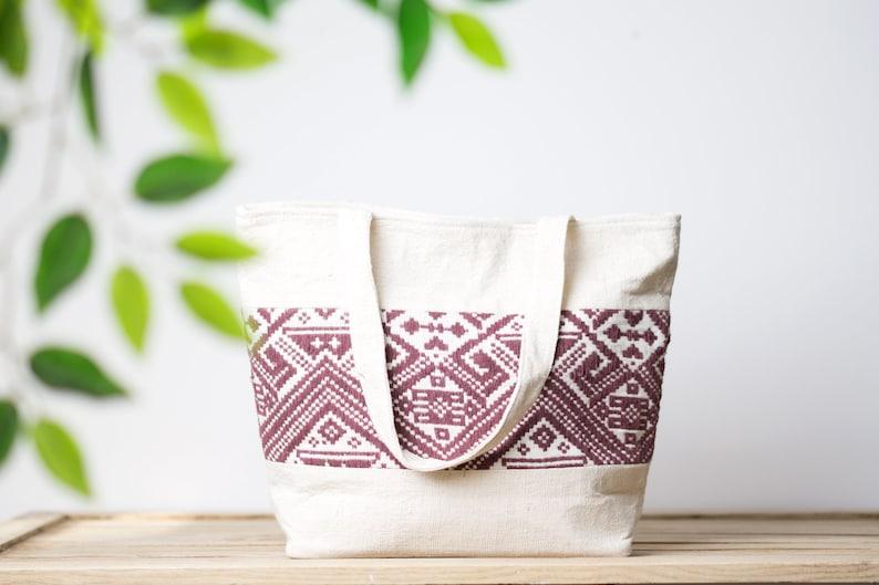 Handmade Thai Bag Natural Cotton Fabric Embroidered Bag Boho Tote Bag Unique Bag Ethnic Bag