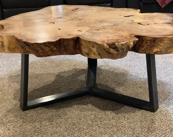 Maple Slab Table With Triangular Base ~LOCAL PICKUP ONLY~
