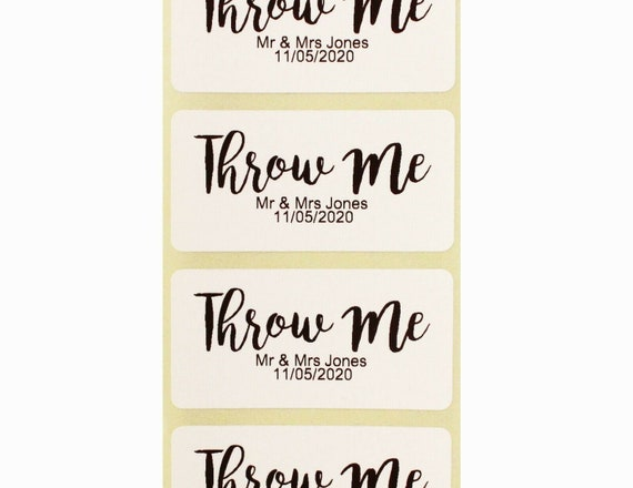 Personalised Wedding favour stickers gold Throw Me Confetti bags
