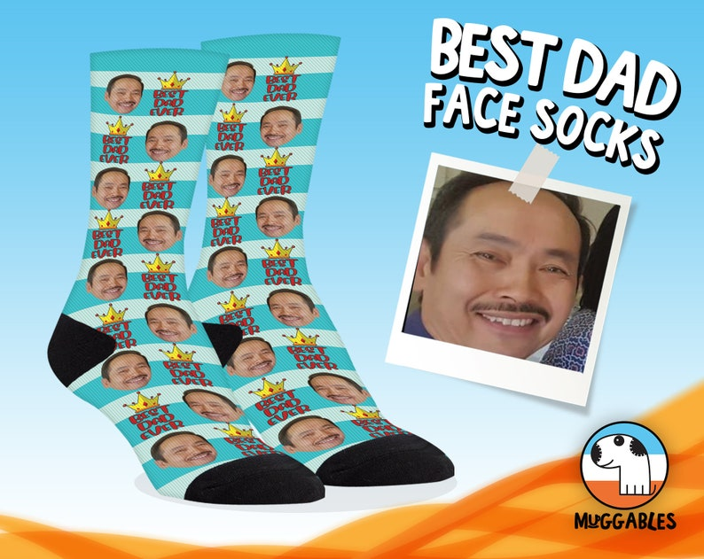 Custom Face Socks For Dad Custom Photo Socks For Father image 0