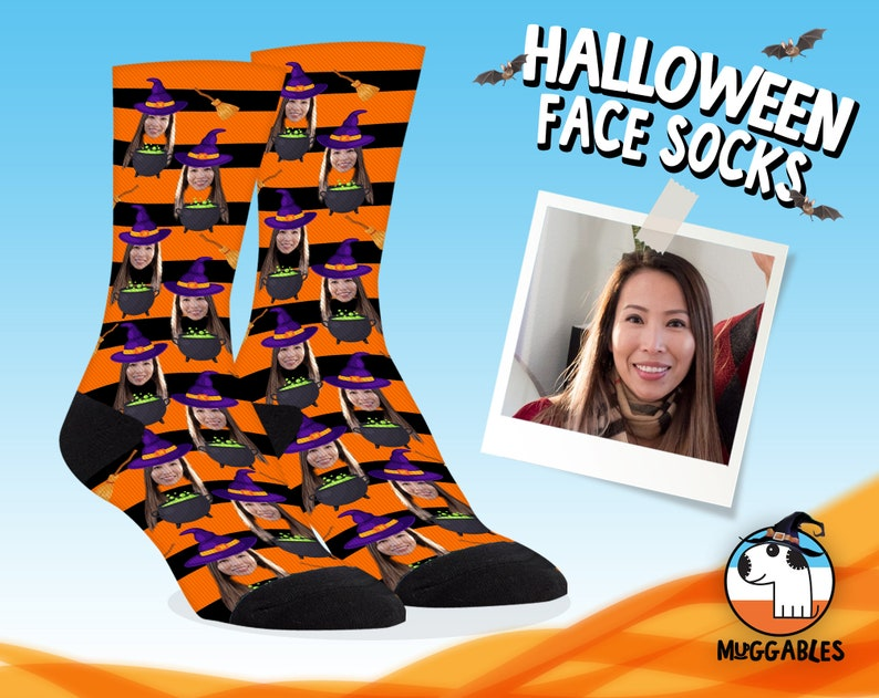 Halloween Face Socks With Witch Body Funny Personalized Face image 0