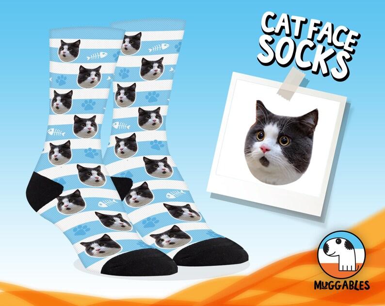 Custom Cat Socks Custom Cat Gift Gift For Cat Lover Cat Mom image 0