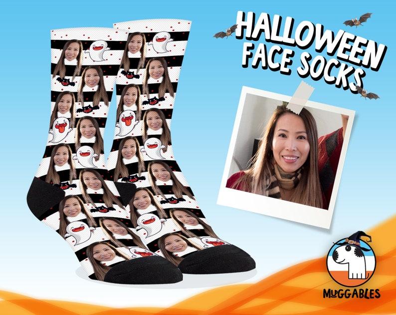 Halloween Socks With Bats Ghost Custom Face Socks image 0