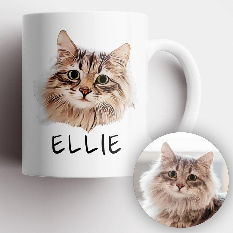 Custom Cat Mug Pet Portrait Mug Personalized Cat Lover image 0