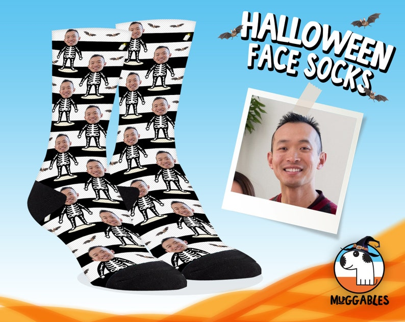 Halloween Face Socks With Skeleton Body Funny Personalized image 0