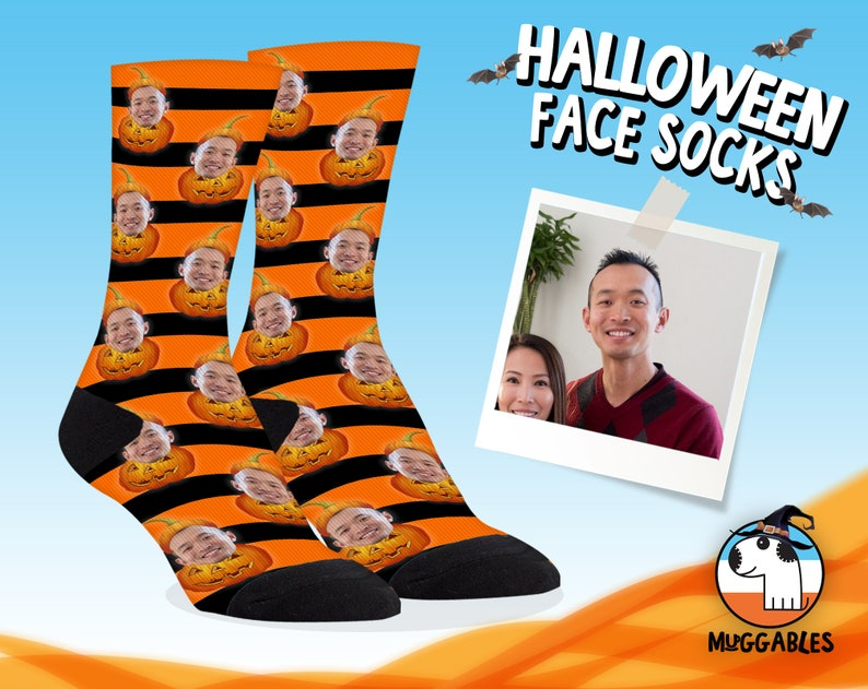 Halloween Face Socks With Pumpkins Funny Personalized Face image 0