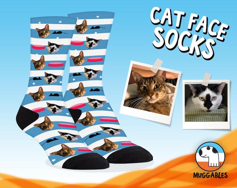 Custom Cat Socks Cute Cat Face On Personalized Socks Cat image 0
