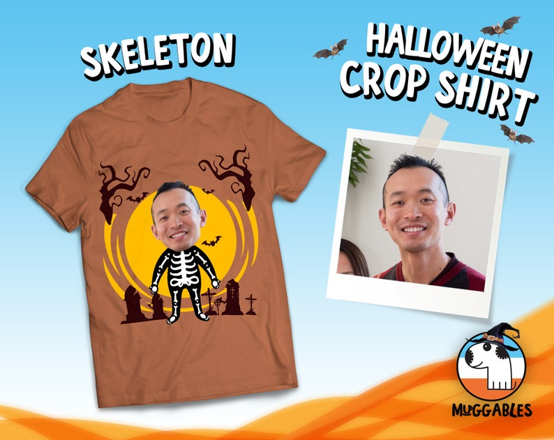 Custom Face Shirt For Halloween Party Costume Cropped Faces image 0